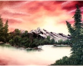 Original Oil Painting - Mountain Sunset