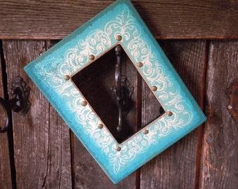 47 - Frame with Fleur De Lis Design -Burlap Covered Front- Black- White- Lagoon Blue