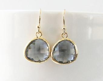 Charcoal Earrings, Gray Earrings, Grey Earrings, Bridesmaid Gift, Everyday Earrings, Drop Earrings, Dangle Earrings, Bridesmaid earrings,