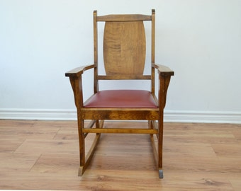Vintage Solid Wood Rocking Chair - 1950's