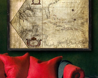 """Pirate map of Caribbean 1765, Old Caribbean map up to 54x36"""" (140x90cm) Grunge map - Pirates of the Caribbean - Limited Edition of 100"""