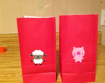 Set of 10 Farm Animal Favor Bags