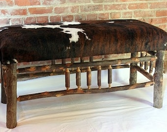 Hickory bench with hair on hide seat,