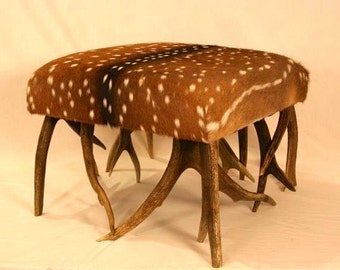 Axis deer and antler ottoman
