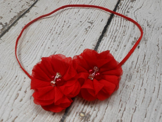 Red Chiffon flower Baby Headband, Newborn Headband,  Infant Headband,Baby Headband, Headband Baby, Baby Headband