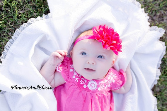 Hot Pink Eyelet Chiffon Lace Flower Baby Headband, Newborn Headband,  Infant Headband,Baby Headband, Headband Baby, Baby Headband