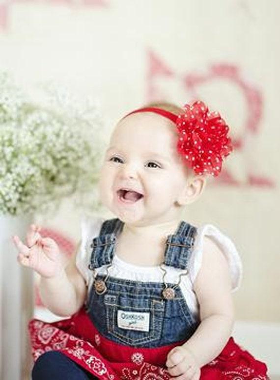 Red with polka dot Frayed Lace,Chiffon flower Baby Headband, Newborn Headband,  Infant Headband,Baby Headband, Headband Baby, Baby Headband