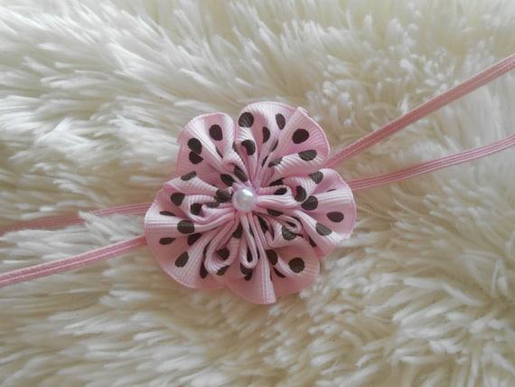 Pink  with  polka dots  flower Headband, Choose your color,Newborn Headband,  Infant Headband, Headband Baby, Baby Headband