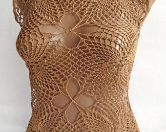 """Top """"Cappuccino""""/ Crochet top/ Summer top/ Brown top/ Women crochet tops/ Crochet tunic/ Crocheted top for women/"""
