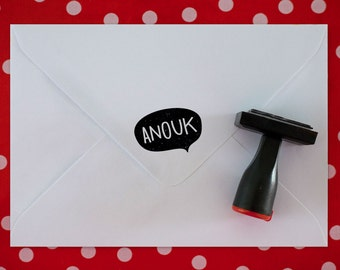 Custom rubber stamp // SPEECH BUBBLE + NAME !