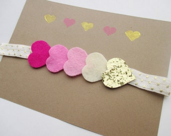 Chain of hearts headband- pink and gold baby headband- pink ombré hair accessory