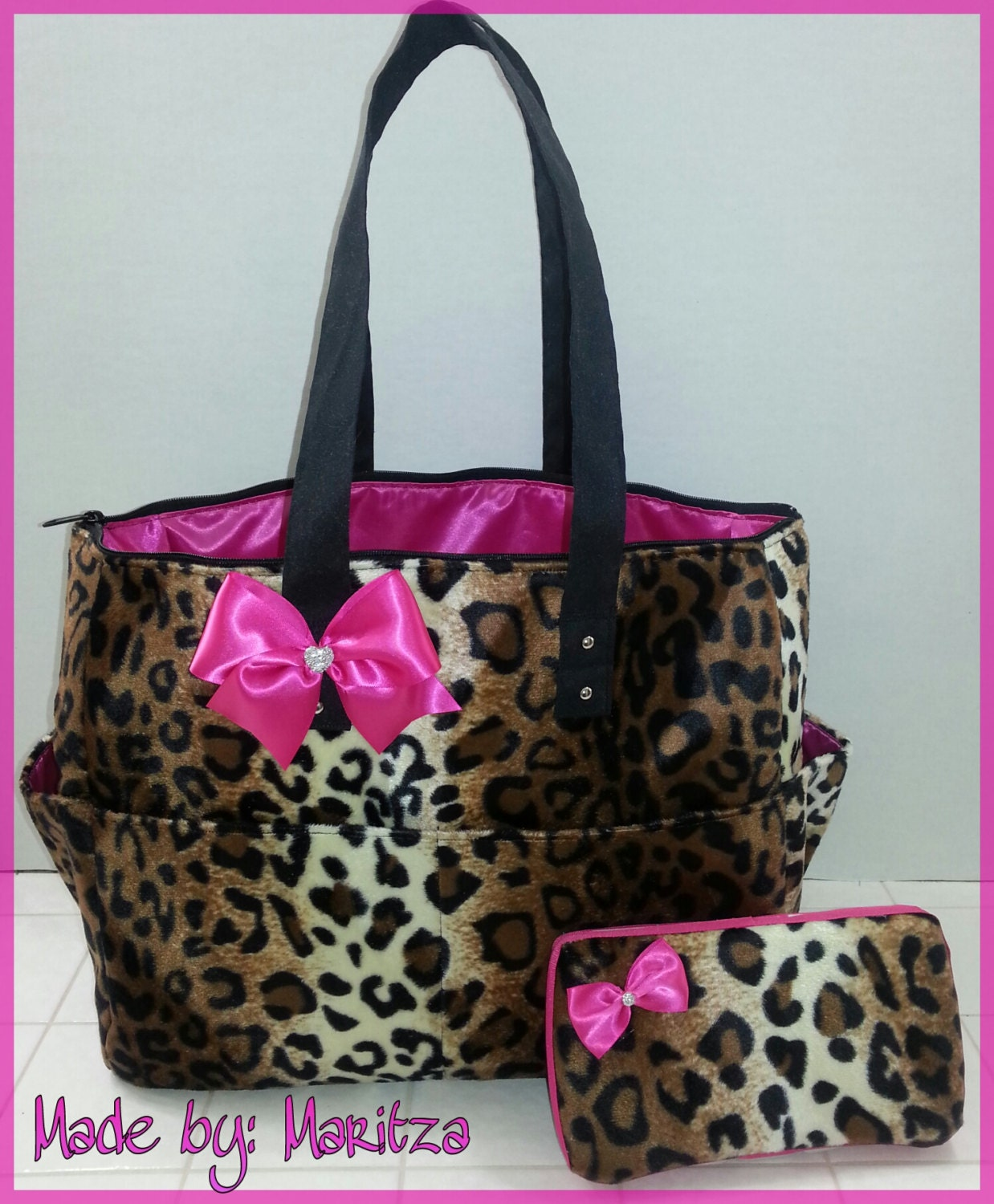 cheetah leopard diaper bag matching wipe case by bagsbymaritza. Black Bedroom Furniture Sets. Home Design Ideas