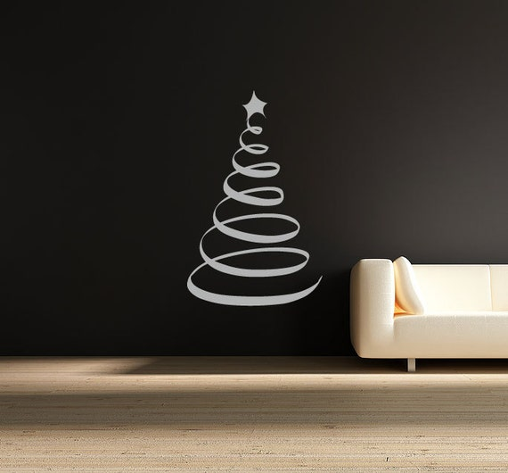 Wall Decal Swirl Christmas Tree Sticker Xmas Festive Decoration Home Decor Decorative Window