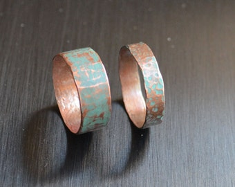 Hammered copper ring with Verdigris Patina