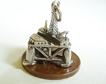 Sterling Silver Oil Rig Charm Charms