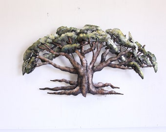 Oak Tree Free Form Metal Sculpture Art Large Metal Wall Art