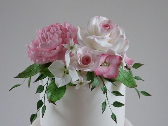 Edible Sugar Flowers Roses Peony Hydrangea Leaves