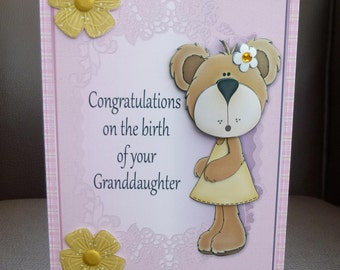 Congratulations on the birth of your Granddaughter 3d Decoupage Card - Handcrafted in UK - New Baby Girl
