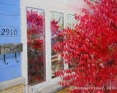 Four Reflections, 8x10 inch giclee print of an original egg tempera painting, landscape, nature, fire bush, red, violet