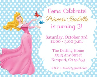 Princess Aurora, Sleeping Beauty Invitation Kid's Birthday Party Invite Birthday Invitation