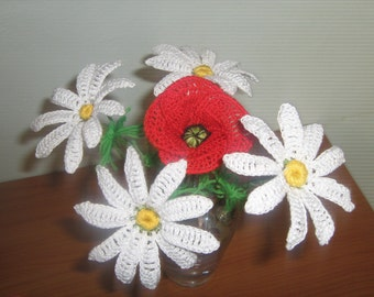 daisies-Home Decorating, crochet, cotton, buquet, flowers