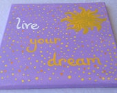 """Disney Tangled Rapunzel Inspired """"Live Your Dream"""" Handpainted Canvas"""