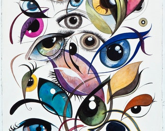 "REGARDS, Eyes painting""18x24""  (45,76cm x 60,96 cm ) Giclee Print"