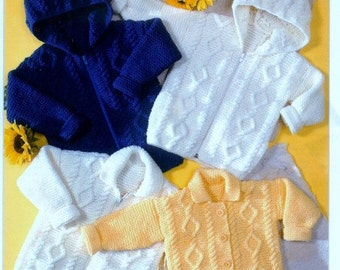 Knitting PATTERN - Aran Jackets to knit  20 to 30 inches Baby Child Teen/adult