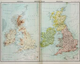 Original Antique Map : British Isles, Physical & Political. Bartholomew c. 1898, Lovely Pastel Colours