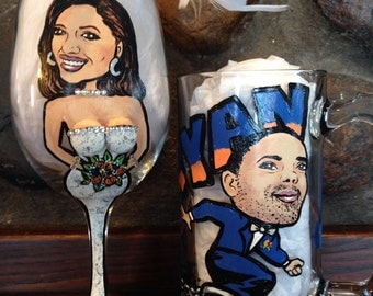 Bride and Groom Caricature Wine Glass (well endowed!)