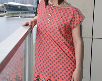 40% ON SALE Stylish floral pink and brown dress