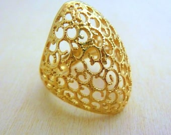 Gold ring handmade jewelry ,filigree gold ring