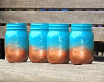 ombre mason jars, turquoise mason jars, party mason jars, home decor mason jar, jade mason jar, copper mason jar,aqua blue jar,teal mason