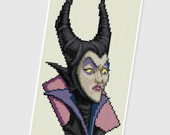 PDF Cross Stitch pattern - 0247.Maleficent ( Sleeping Beauty ) - INSTANT DOWNLOAD