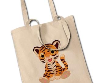Smiley Tiger Cub Shoulder Tote Shopping Bag Back To School Fashion Reusable
