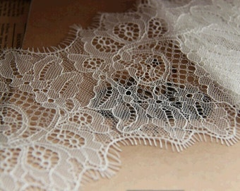 Chantilly Lace Fabric, Chantilly Eyelash Lace Trim,  4.7 inches Wide for  Veil, Dress, Costume, Craft Making, 3 Meter/piece