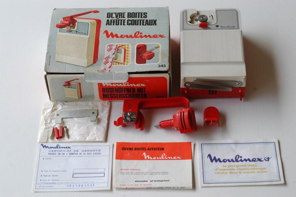 Fran ais vintage moulinex ouvre bo te et coffret de couteau - Ouvre boite electrique moulinex ...