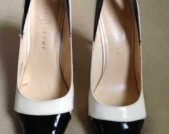Vintage cream and black patten leather stiletto heels. Women's US size 8 1/2 medium by Ivana Trump