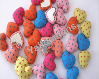 U Pick Handmade cloth covered buttons, Fabric Heart button, Dot Flat cloth button 15MM For Bags YTB16