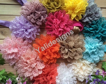 U Pick Wholesales Lace Peony Flower Headband Baby Headbands.  Newborns Headbands. Girl's Headband YTH41