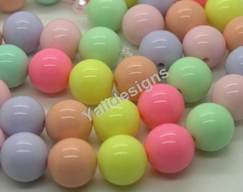 18mm GUMBALL Beads Solid Acrylic Beads Candy Beads Round Plastic Beads Bubblegum Beads Chunky Necklace Beads Bubble Gum Bead-1 strip-YTT09