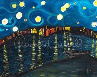 "Interpretation of Starry Night Over the Rhine Art Print 8""x10"" or 13""x19"""