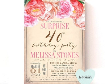 ANG AGES: Surprise Adult Birthday Invitation - Women Birthday Vintage Peach Background Floral Watercolor Floral - Printable No.196BDAY