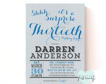 Surprise Adult Birthday Party Invitation - Any Ages - CUSTOM FONT COLOR -  Printable No.298