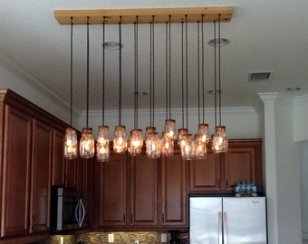 20 Light Mason Jar Chandelier - Rustic Cedar