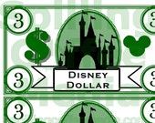 Disney Dollars Instant Download - Reward Good Behavior, Grades for Vacation Fun!  8x10 for Printing! Great Teaching Aid, Educational Toy!