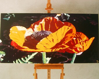 Giant poppy original Acrylic painting 160 x 80 x 4 cm on a double wooden wedge frame