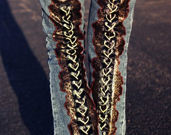 Faux Leopard print  leather Lace-Up on a vintage   Boot-Cut Jeans