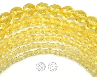 6mm (68pcs) Jonquil, Czech Fire Polished Round Faceted Glass Beads, 16 inch strand