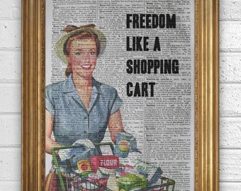 NOFX - Freedom like a shopping cart -  Art Print on Vintage Book Page